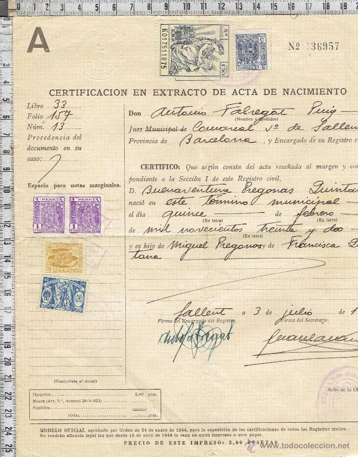 certificacion extracto acta de nacimiento-1950. - Comprar en ...