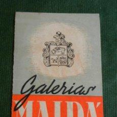 Documentos antiguos: TRIPTICO GALERIAS MALDA - BARCELONA AÑOS 1940. Lote 153217228