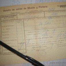 Documentos antiguos: RED NACIONAL DE FERROCARRILES, RED DE ANDALUCES. SALIDA DE MUELLE Y PORTERIA. 1937 GUERRA CIVIL. . Lote 42026228