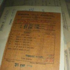 Documentos antiguos: ELECTRA SAN ANTONIO. ANTONIO TOBAR LARENA, JAEN DICIEMBRE1938. GUERRA CIVIL. . Lote 42030836