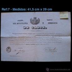 Documentos antiguos: TÍTULO - DIPLOMA ACADÉMICO CORRESPONSAL -ACADEMIA NACIONAL DE MEDICINA Y CIRUGÍA DE CADIZ 1844 REF7. Lote 42261455