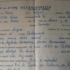 Documentos antiguos: AUTOBIOGRAFIA COMPLETADA A MANO Y FIRMADA POR MIGUEL FERRER ROTGER, PINTOR (POLLENÇA)+SOBRE . Lote 42282329