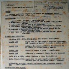Documentos antiguos: DATOS BIOGRAFICOS ESCRITOS A MAQUINA POR EL PINTOR JOSE MOMPOU, MAYO 1949! . Lote 42323876