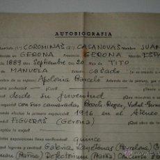 Documentos antiguos: AUTOBIOGRAFIA COMPLETADA A MANO POR JUAN COROMINAS CASANOVAS, PINTOR NACIDO EN GIRONA . Lote 42329772