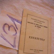 Documentos antiguos: ANTIGUOS ESTATUTOS EMPLEADOS DE BANCA. Lote 42356996