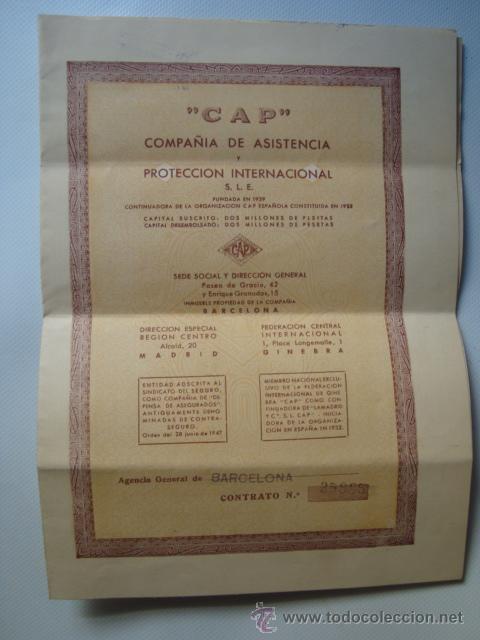 CONTRATO PÓLIZA SEGUROS CAP. MOTO OSSA (BARCELONA, 1955). 38X26 CM. (Coleccionismo - Documentos - Otros documentos)