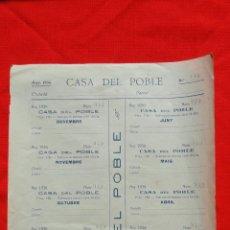 Documentos antiguos: CASA DEL POBLE, HOJA CON 12 CUPONES ENTIERRO CIVIL, Nº 940 AÑO 1936. Lote 48378742