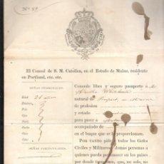 Documentos antiguos: PASAPORTE DE EEUU A LA HABANA. 1859. SELLO DEL CONSULADO DE ESPAÑA EN PORTLAND. Lote 42445693
