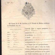Documentos antiguos: PASAPORTE DE EEUU A LA HABANA. 1859. SELLO DEL CONSULADO DE ESPAÑA EN PORTLAND. Lote 42445724