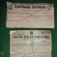 Documentos antiguos: XATIVA VALENCIA 1948 CONTRIBUCION TERRITORIAL Y CUOTA CAMARA AGRICOLA. Lote 42461538