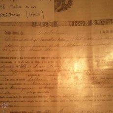 Documentos antiguos: REUS - 1900 - PASE A LA RESERVA .MILITAR.. Lote 40892733