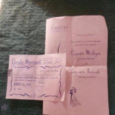 Documentos antiguos: XATIVA VALENCIA 1957 CUOTA CIRCULO MERCANTIL Y PROGRAMA FERIA DE AGOSTO BAILE SERENADE Y MICHIGAN. Lote 42503290