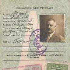 Documentos antiguos: CARNET CONDUCIR ANTIGUO. SEGUNDA CLASE FILIACIÓN DEL TITULAR. SELLO DE OBRAS PUBLICAS GERONA - 1928. Lote 42512819