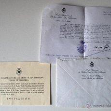 Documentos antiguos: REAL ACADEMIA BELLAS ARTES DE SAN SEBASTIAN (PALMA MALLORCA). CARTA+SOBRE+INVITACION . Lote 42516907