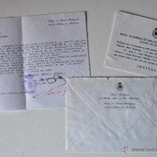 Documentos antiguos: REAL ACADEMIA BELLAS ARTES DE SAN SEBASTIAN (PALMA MALLORCA). CARTA+SOBRE+INVITACION . Lote 42516918