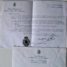 Documentos antiguos: REAL ACADEMIA BELLAS ARTES DE SAN SEBASTIAN (PALMA MALLORCA). CARTA+SOBRE . Lote 42516924