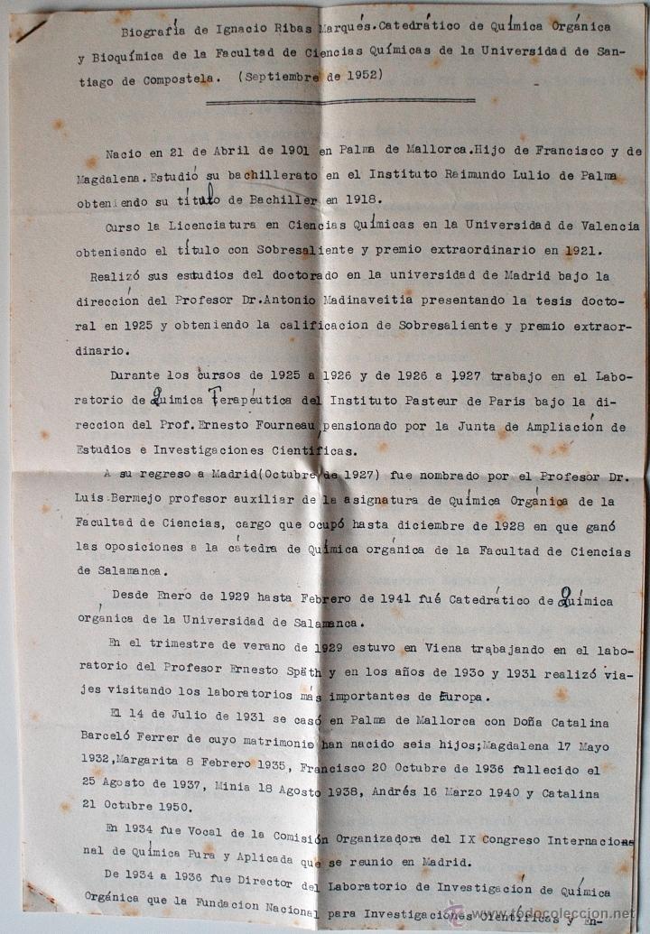 BIOGRAFIA ORIGINAL DE IMPRENTA, IGNACIO RIBAS MARQUÉS (UNIVERSIDAD SANTIAGO COMPOSTELA) (Coleccionismo - Documentos - Otros documentos)