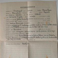 Documentos antiguos: AUTOBIOGRAFIA COMPLETADA A MANO POR LA PINTORA MARIA ROSA ARSALAGUET!! . Lote 42534471