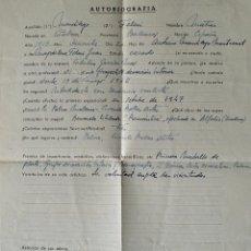 Documentos antiguos: AUTOBIOGRAFIA COMPLETADA A MANO POR MATIAS MANDILEGO FELANI, PINTOR DE PALMA, FIRMADA!! . Lote 42534705