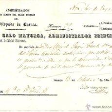 Documentos antiguos: CUENCA - RECIBO ADMINISTRACIÓN DE BIENES DEL CLERO SECULAR OBISPADO DE CUENCA AÑO 1854. Lote 42568017