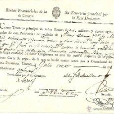 Documentos antiguos: (ALMODOVAR) CUENCA - CARTA DE PAGO DE LAS RENTAS PROVINCIALES DE CUENCA AÑO 1815. Lote 42571385