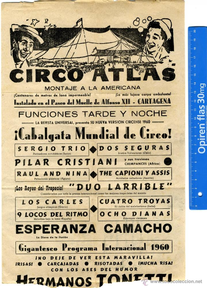 CIRCO, CARTAGENA CARTEL PUBLICITARIO CIRCO ATLAS 1.960 (Coleccionismo - Documentos - Otros documentos)