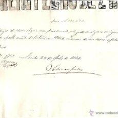 Documentos antiguos: LÉRIDA - REINTEGRO DE 2 REALES DE VELLON SERIE A 175,486 FECHADA EN LÉRIDA 29 JULIO 1856?. Lote 42622419