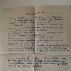Documentos antiguos: AUTOBIOGRAFIA COMPLETADA A MANO POR EL PINTOR DE SAN ANDRES DE PALOMAR, FLORENCIO BOSCH . Lote 42632721
