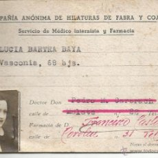Documentos antiguos: BARCELONA,COLONIA FABRA PUIG. Lote 42685393