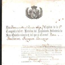 Documentos antiguos: CUBA. REGIMIENTO DE INFANTERIA DEL BATALLON DE SAN QUINTIN. NOMBRAMIENTO. 1881. Lote 42702882