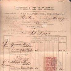 Documentos antiguos: CUBA NOMINA DE HABERES DE PROFESORES PRIMERA ENSEÑANZA. CON SELLO DE TIMBRE MOVIL. 1894 HABILITADOS. Lote 42703380