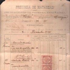 Documentos antiguos: CUBA. NOMINA DE HABERES DE PROFESORES PRIMERA ENSEÑANZA.CON SELLO DE TIMBRE MOVIL. 1894 HABILITADOS. Lote 42703402