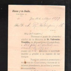 Documentos antiguos: CIRCULAR. BLANCO Y DE BENITO. OFRECIMIENTO DE ALCOHOL DE MIGUELTURRA (CIUDAD REAL). 1899. Lote 42751839