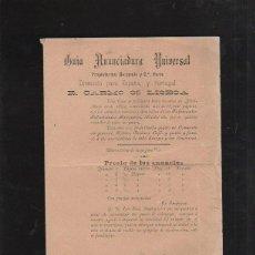 Documentos antiguos: GUIA ANUNCIADORA UNIVERSAL. PUBLICIDAD. LISTA DE PRECIOS DE ANUNCIOS. 1894.. Lote 42768589