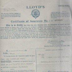 Documentos antiguos: SEGUROS LLOYD'S. POLIZA DE SEGURO DE VINO. 1951. COPENHAGE, DINAMARCA.. Lote 42768837