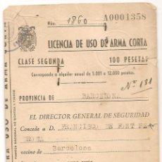 Documentos antiguos: LICENCIA DE USO DE ARMA CORTA DEL 17 DE JUNIO DE 1948. Lote 42793544