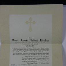 Documentos antiguos: ESQUELA EN SOBRE PAPEL DECORADO RELIEVE MIRANDA EBRO 1 JUNIO 1956 RECUERDO POST MORTEM. Lote 42958544