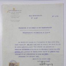 Documentos antiguos: OBLIGACIONES DEL FERROCARRIL TRANSACCIONES HOTTINGUER R CIE PARÍS 1933 27X 21 CM. Lote 42968890