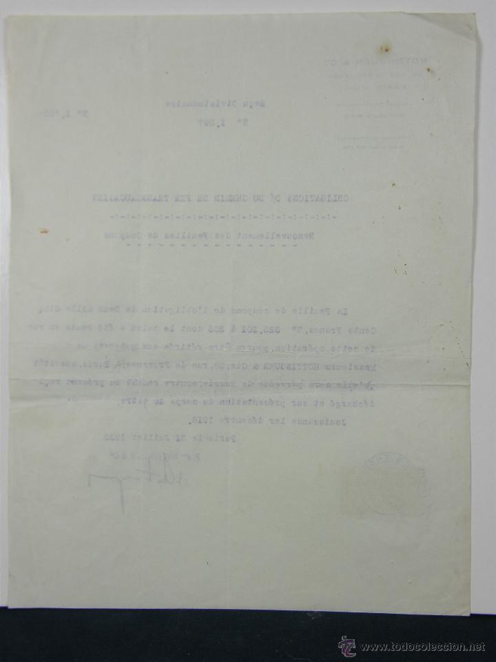 Documentos antiguos: obligaciones del Ferrocarril Transacciones Hottinguer R Cie París 1933 27x 21 cm - Foto 2 - 42968890