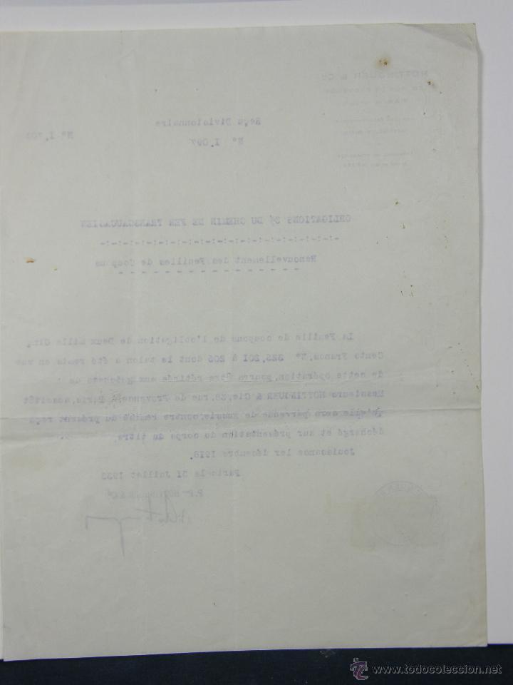 Documentos antiguos: obligaciones del Ferrocarril Transacciones Hottinguer R Cie París 1933 27x 21 cm - Foto 3 - 42968890