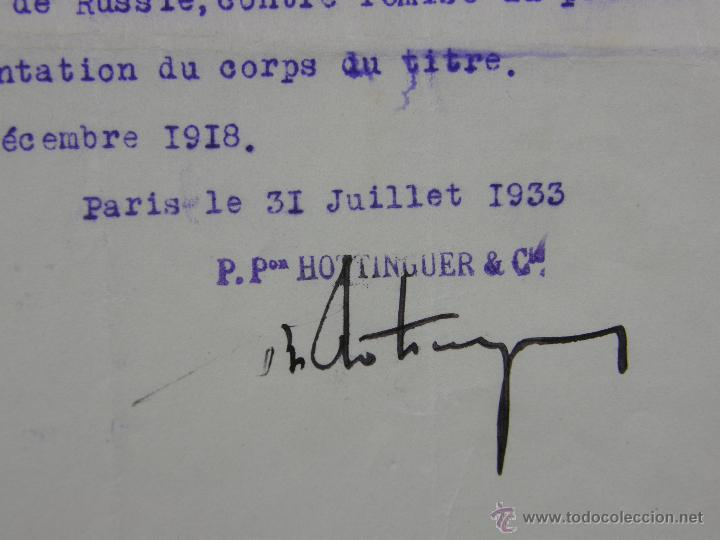 Documentos antiguos: obligaciones del Ferrocarril Transacciones Hottinguer R Cie París 1933 27x 21 cm - Foto 5 - 42968890