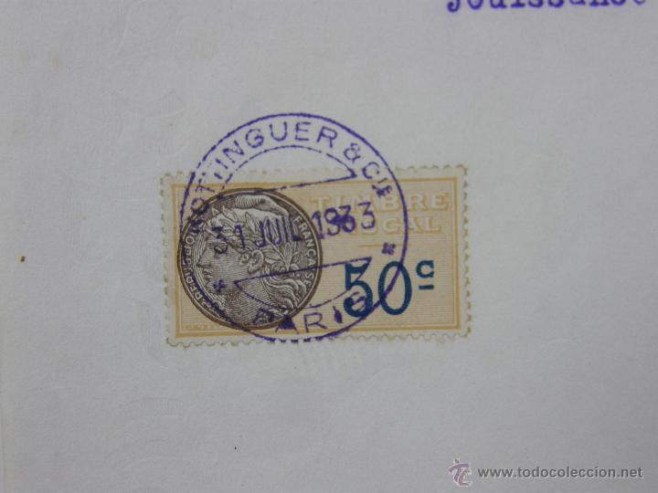 Documentos antiguos: obligaciones del Ferrocarril Transacciones Hottinguer R Cie París 1933 27x 21 cm - Foto 6 - 42968890