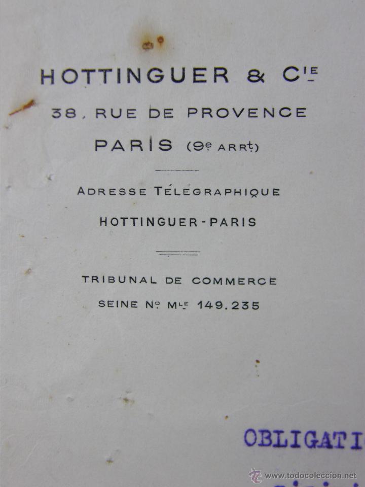 Documentos antiguos: obligaciones del Ferrocarril Transacciones Hottinguer R Cie París 1933 27x 21 cm - Foto 7 - 42968890
