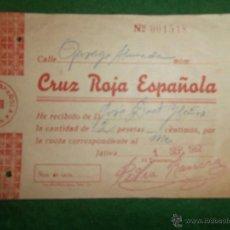 Documentos antiguos: CUOTA CRUZ ROJA 1962 XATIVA VALENCIA. Lote 42975308