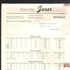 Documentos antiguos: DEPORTES JONER. BARCELONA. 1946. LISTA DE PRECIOS DE BALONES, MOCHILAS, VARIOS, PIN PON, ACCESORIOS. Lote 43092819
