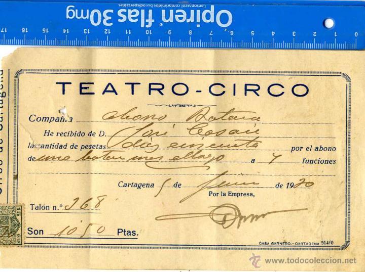 CARTAGENA, RESGUARDO ABONO TEATRO CIRCO 1.930 (Coleccionismo - Documentos - Otros documentos)