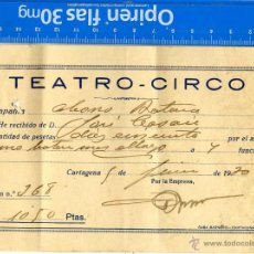 Documentos antiguos: CARTAGENA, RESGUARDO ABONO TEATRO CIRCO 1.930. Lote 43146668