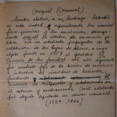 Documentos antiguos: HOJA A MANO ORIGINAL DE ANTIGUA EDITORIAL. MANUEL MIQUEL, ESCRITOR CHILENO. Lote 43229812