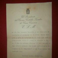 Documentos antiguos: DOCUMENTO INVITACIÓN A COMILONA DE 1936 - CABILDO INSULAR DE GRAN CANARIA - . Lote 43261113