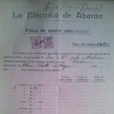 Documentos antiguos: CONTRATO DE LA ELECTRICA DE ABARAN DEL AÑO 1924 A NOMBRE DE JOSE MARIA YELO MOLINA MURCIA. Lote 43270491